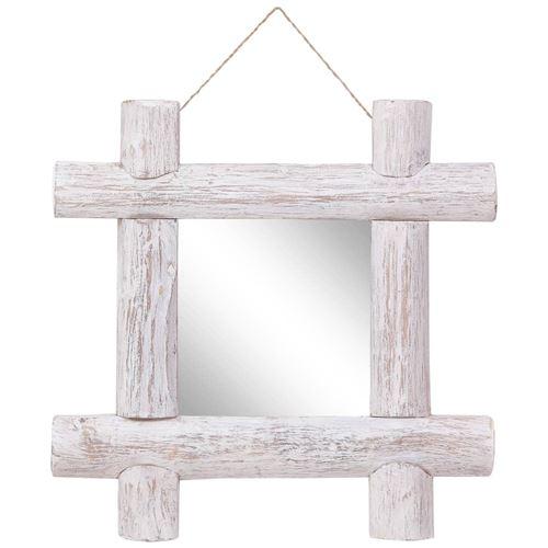vidaXL Miroir à bûches Blanc 50x50 cm Bois de récupération massif