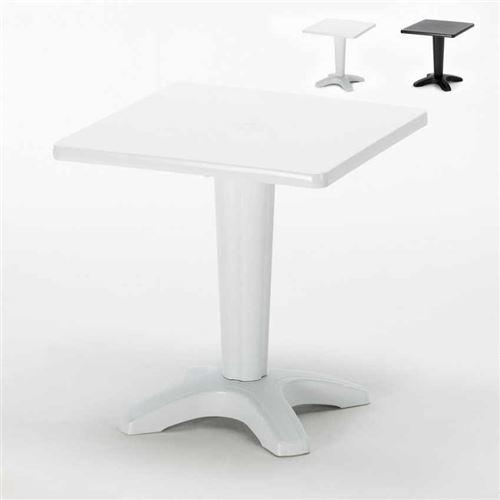 Grand Soleil - Table de Jardin bar Grand Soleil Zavor café bar extérieur carré polypropylène 70x70, Couleur: Blanc