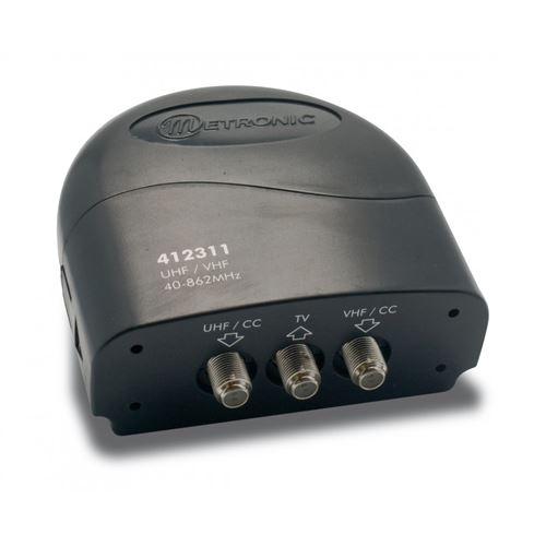 METRONIC Coupleur 2 entrées UHF/VHF à fiche F 412311-O