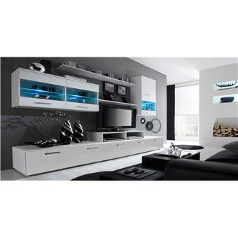 Home innovation - meuble de télévision, meuble de salon moderne avec leds,  blanc mate et blanc laqué, dimensions : 250x194x42 cm de profondeur.