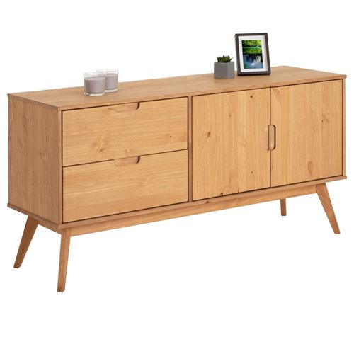 Buffet TIVOLI design vintage scandinave nordique commode bahut vaisselier 2 tiroirs 2 portes, pin massif finition bois teinté