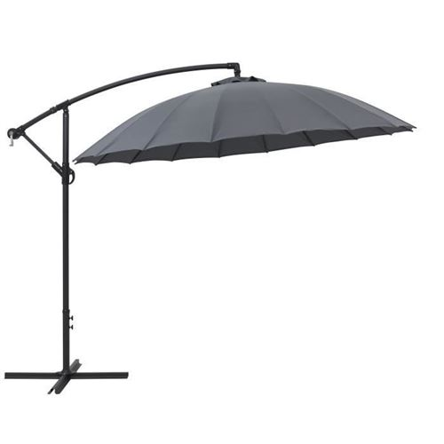 parasol déporté type shanghai - diametre 3m - strucutre aluminium avec polyester 220gr - gris - hyoty