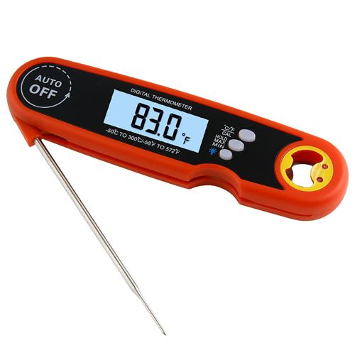 Thermomètre de cuisine alimentaire électronique étanche pliable -rouge