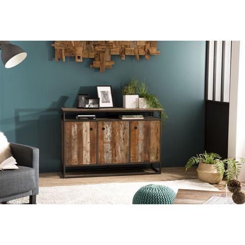 Buffet bois 3 portes et 1 étagère Teck recyclé Acacia Mahogany et métal