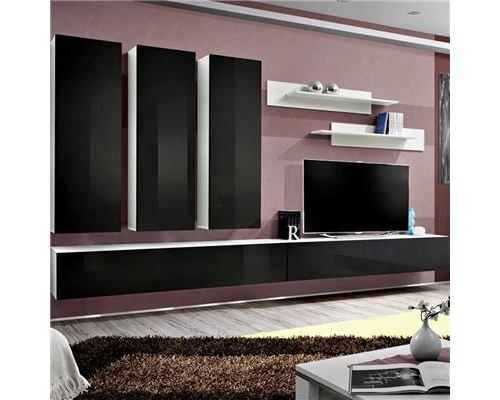 Ensemble TV noir et blanc BUDONI - L 320 x P 40 x H 190 cm