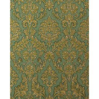 Papier Peint Style Baroque Edem 708 38 Vert Ombrage Dore Platine