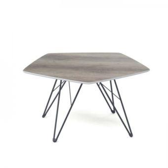 Trevise Table Basse Hexagonale Style Scandinave En Metal Noir Et Plateau Mdf Decor Chene L 80 X L 80 Cm