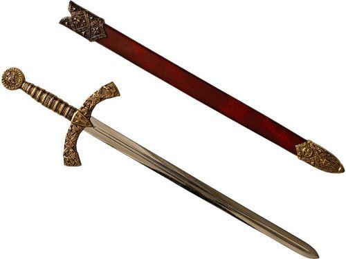 Coupe papier Ouvre lettre Dague Templière 28.5 cm avec sceau et blason des chevaliers Templiers et fourreau rouge