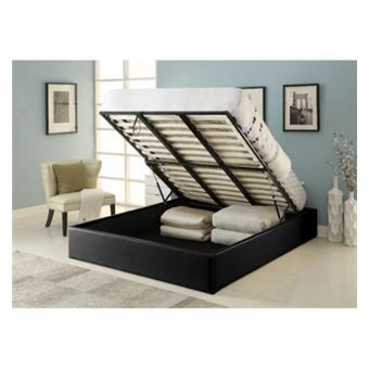 Majesty Lit Coffre Adulte Contemporain Simili Noir Sommier L 160 X L 200 Cm