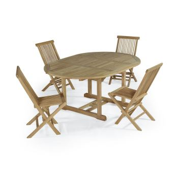 183€33 sur Salon de jardin en teck Ecograde Wesport, table ronde ...