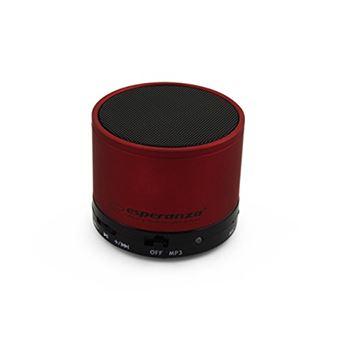 Esperanza Ritmo Cylindre Rouge – Enceintes Portable Sans Fil et Filaire,  Batterie, USB, 280 – 16000 Hz, Bluetooth/3 5 mm, Universelle, Cylindre