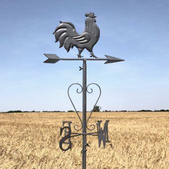 Girouette Coq Fer de Jardin à Planter Gris 162 cm x 30 cm ...