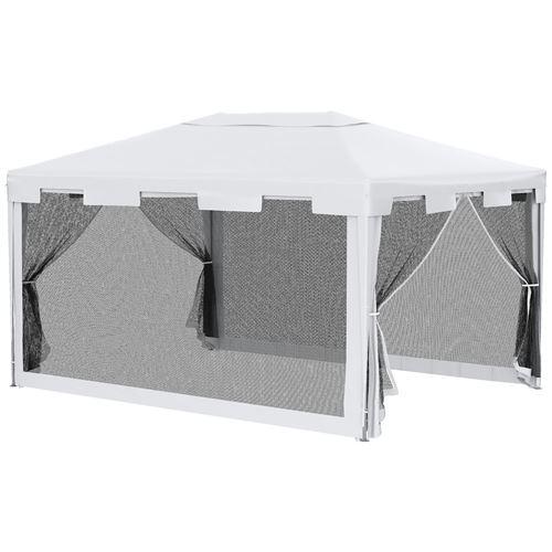 Tonnelle barnum style colonial dim. 4L x 3l x 2,45H m 4 moustiquaires blanc et noir
