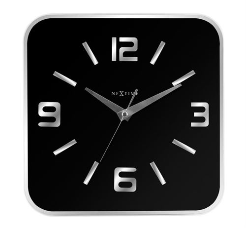 NeXtime NE-8149ZW Horloge murale 43x43 cm, Verre, Miroir, Noir