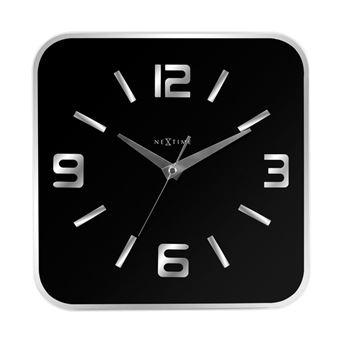 Nextime Ne 8149zw Horloge Murale 43x43 Cm Verre Miroir Noir