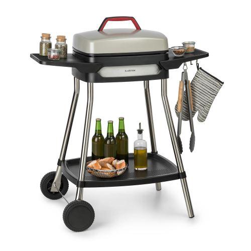 Klarstein Gatsby Grill électrique 2000W - Table d'appoint - 4 pieds acier inox -Nettoyage facile - Beige & noir