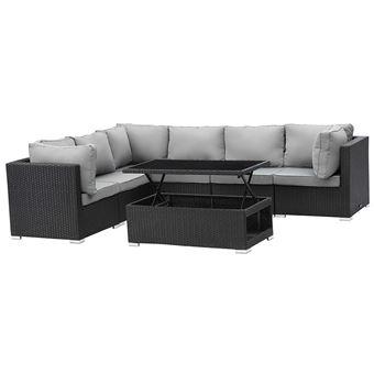 salon de jardin modulable en résine tressée auckland luxe - atlanta - table  basse relevable - noir