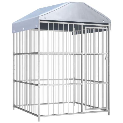 Chenil d'extérieur avec toit pour chiens 150x150x200 cm