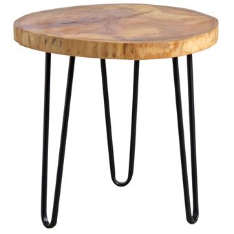 Métal En Gaspard Table Bois Ronde Noir Aubry Et WE2IHD9
