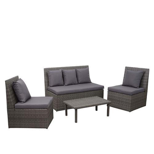 Garniture en polyrotin HWC-G16, canapé 2 places, table d'appoint, 2x fauteuil ~ gris, coussin gris foncé