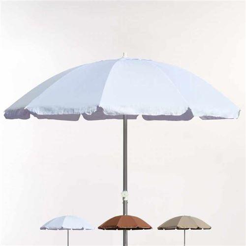 Parasol Mer Plage 220 Cm en Coton Épais Coupe-Vent Ed Limitée ROME, Couleur: Blanc