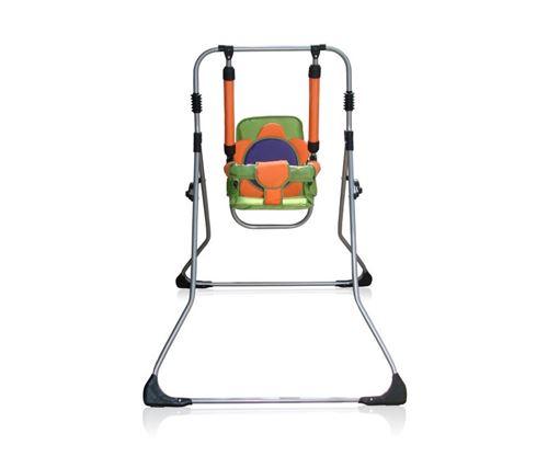 Balancelle berceau transat chaise haute 12m+ bébé enfant - Samba Plus 4en1   Orange et Verte / Cadre argent