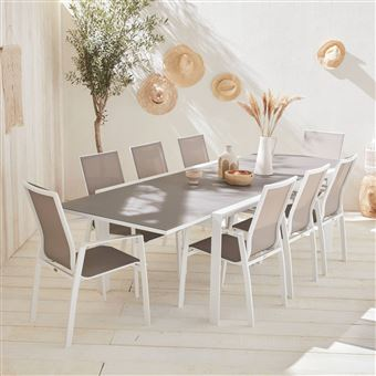 50€ sur Salon de jardin table extensible - Washington Taupe Alice\'s ...