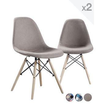 chaise scandinave rembourre nadir lot de 2 grge achat prix fnac - Chaise Scandinave Beige