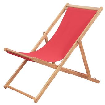 Vidaxl Chaise Pliable De Plage Tissu Et Cadre En Bois Rouge