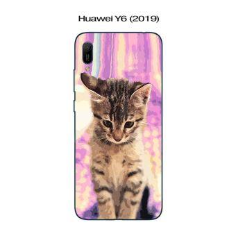 Coque Huawei Y6 (2019) design Chat tigré fond rose