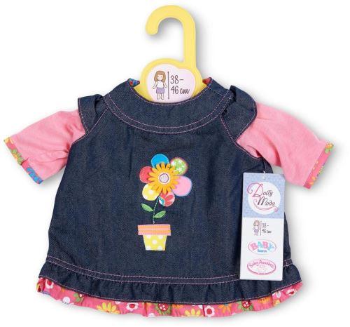 Habit poupee 38-46 cm : robe jeans avec une jomie fleur - zapf za12