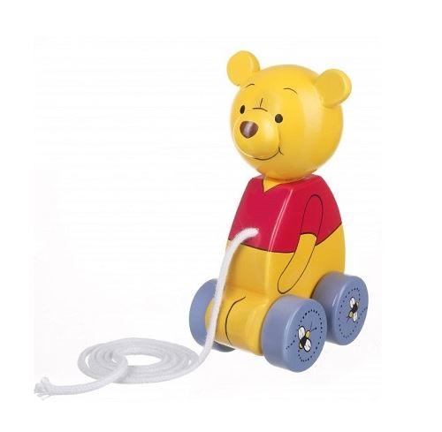 Disney - personnage winnie the pooh en bois 15 cm - jouet a tirer bebe
