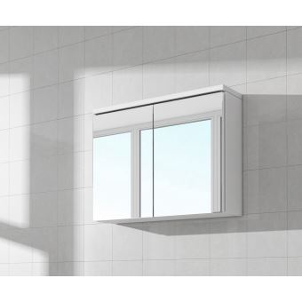 Meuble à miroir 80x50 cm Blanc - Miroir armoire miroir salle de ...