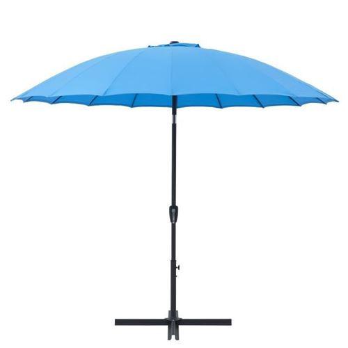 parasol droit type shanghai diametre 3m inclinable - mât aluminium et toile polyester 180g - bleu - aurinko