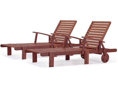 bain de soleil pliant en bois exotique tokyo - mahogany - marron acajou - lot de 2