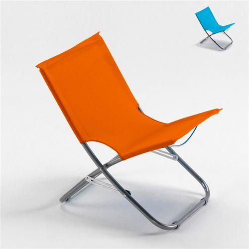 Chaise de plage transat pliante fauteuil piscine acier RODEO, Couleur: Orange