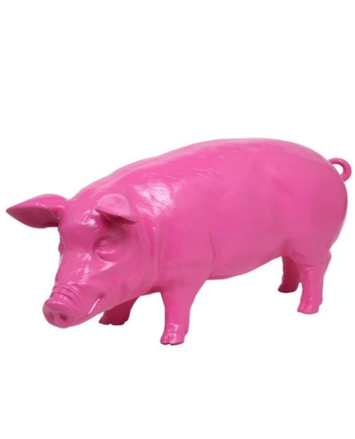 Statue en résine cochon fushia - 97 cm