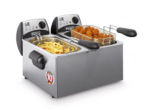 FRITEL International FR 1355 DUO - Friteuse - 6 litres - 4000 Watt - acier inoxydable