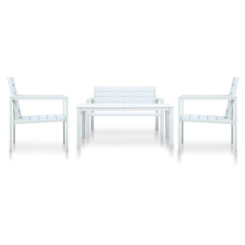 vidaXL Salon de jardin 4 pcs PEHD Blanc Aspect de bois