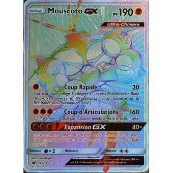 SECRETE carte Pok/émon 115//111 Mouscoto GX 190 PV