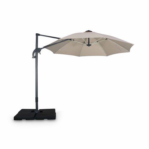 Alice's Garden-Parasol led déporté rond ø300 cm – dinard – beige – parasol exporté, inclinable, rabattable et rotatif à 360°, baleines en fibre de verre
