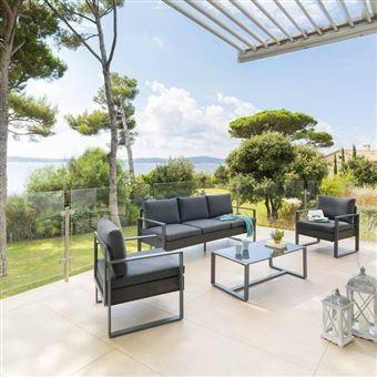 Salon de jardin Sesimbra graphite Hespéride - Mobilier de ...