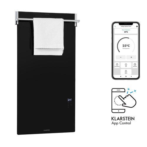 Klarstein HotSpot Crystal Spotless Smart Radiateur infrarouge connecté 750W, contrôle par app , Noir