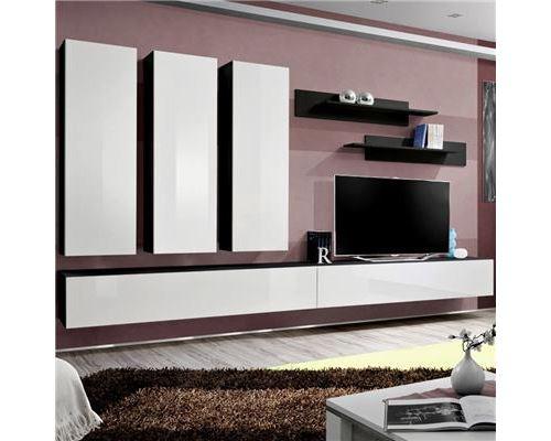 Meuble TV suspendu blanc et noir BUDONI - L 320 x P 40 x H 190 cm