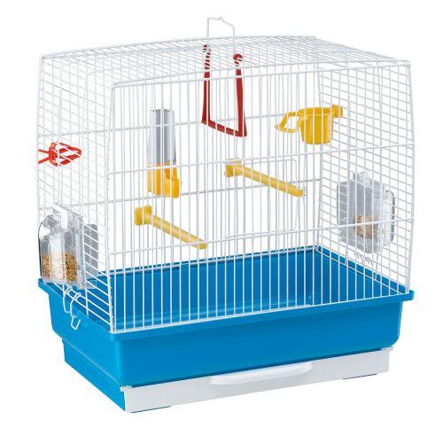 Ferplast Cage rectangulaire pour petits oiseaux exotiques et canaris REKORD 2 Petite cage pour oiseaux équipée d'accessoires et de mangeoires tournantes, métal robuste peint Blanc et bac en plastique Bleu, 39 x 25 x h 41 cm
