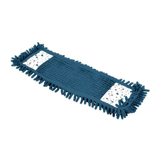 Paris Prix - Serpillière Pour Balai Chenille terrazzo 42cm Blanc & Bleu