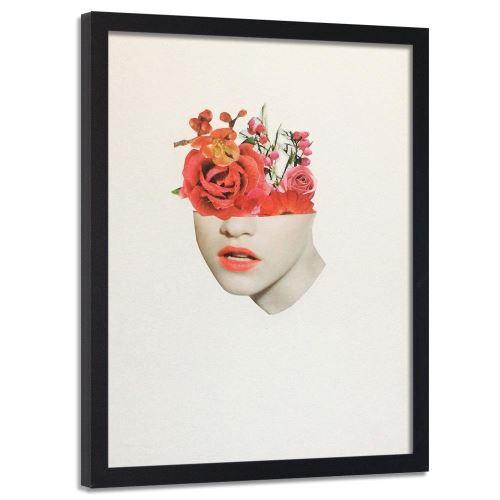 Feeby Image encadrée décorative Tableau cadre mural noir, Collage fleurs rouges 40x60 cm