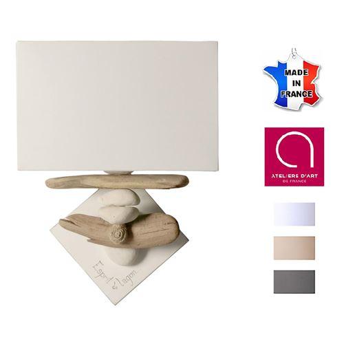 Lampe applique murale bord de mer bois et galets personnalisable - Fabriquée à la main en France - Blanc avec personnalisation - 12