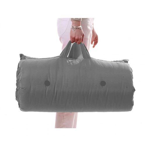 Matelas futon de voyage coton gris clair 70x190