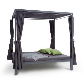 Blumfeldt Senator Lounge Transat - Chaise longue de jardin 2 personnes  188x208x205 cm - Gris